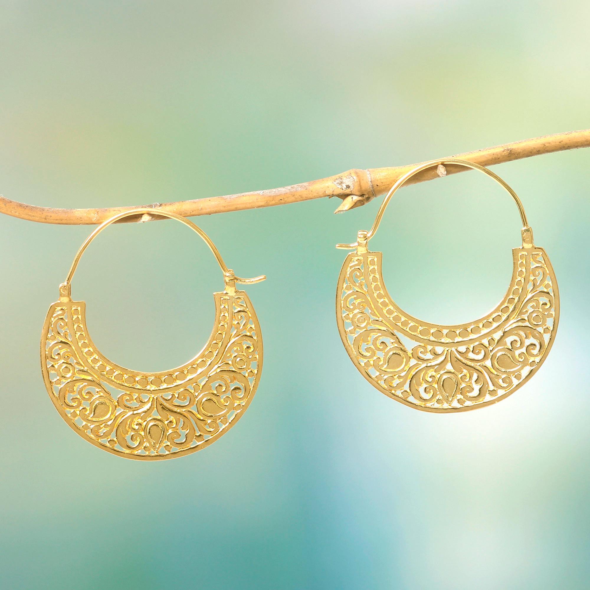 Ornate 22k Gold Vermeil Hoop Earrings From Indonesia Garden Of Eden Novica