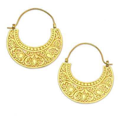 Gold vermeil hoop earrings, 'Garden of Eden' - Ornate 22k Gold Vermeil Hoop Earrings from Indonesia