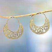 Gold vermeil hoop earrings, 'Moonlit Garden' - Unique Hoop Earrings in 22k Gold Vermeil from Bali