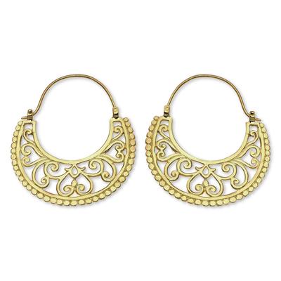 Gold vermeil hoop earrings, 'Moonlit Garden' - Unique Hoop Earrings in 22k Gold Vermeil from Bali