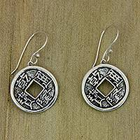 Sterling silver dangle earrings, 'Magical Coins'