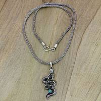 Sterling silver pendant necklace, 'Newborn Dragon' - Fair Trade Sterling Silver Necklace with Dragon Pendant