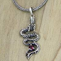 Men's sterling silver pendant necklace, 'Young Dragon' - Men's Dragon Pendant Necklace in Sterling Silver and Garnet