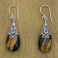 Tiger's eye and rainbow moonstone earrings, 'Sunset Aurora' - Fair Trade Tiger's Eye and Rainbow Moonstone Earrings