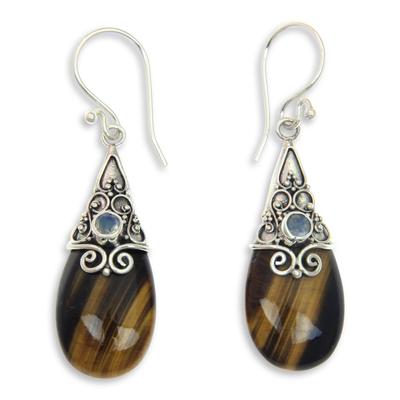 Tiger's eye and rainbow moonstone earrings, 'Sunset Aurora' - Fair Trade Tiger's Eye and Rainbow Moonstone Earrings