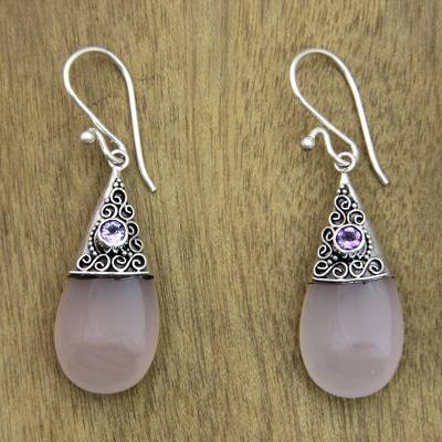 Rose quartz and amethyst dangle earrings, Bali Snowcap