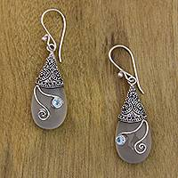 Chalcedony and blue topaz dangle earrings, 'Tropical Tendril' - Chalcedony, Blue Topaz and Sterling Silver 925 Earrings