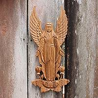 Wood relief panel, 'Angelic Blessings' - Artisan Hand Carved Wood Angel Motif Wall Relief Panel