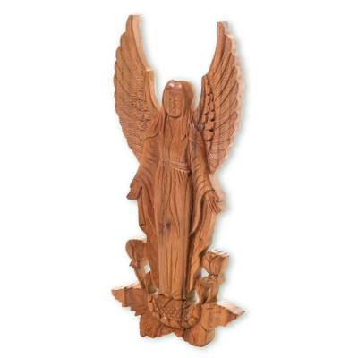 Artisan Hand Carved Wood Angel Motif Wall Relief Panel Angelic Blessings Novica