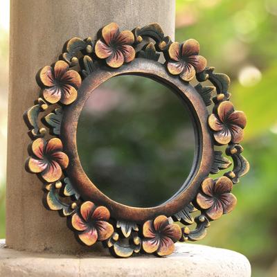 Round Fl Wall Mirror Hand Carved, Carved Wooden Round Mirror