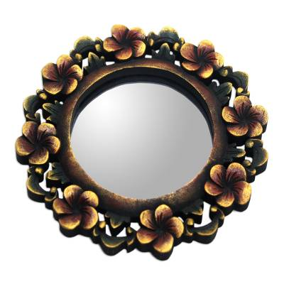 Wood wall mirror, 'Plumeria Garland' - Round Floral Wall Mirror Hand Carved from Wood