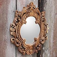 Wood wall mirror, 'Mataram Rococo' - Hand Carved Ornate Suar Wood Mirror with Natural Grain and F