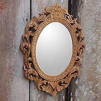 Wood wall mirror, 'Keraton Rococo' - Wood Rococo-Style Wall Mirror with Natural Finish