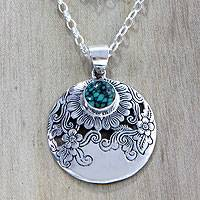 Sterling silver pendant necklace, 'Sunflower Garden' - Fair Trade Sterling Silver Flower Pendant Necklace from Bali