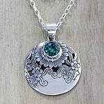 Fair Trade Sterling Silver Flower Pendant Necklace from Bali, 'Sunflower Garden'