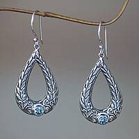 Blue topaz dangle earrings, 'Abundant Harvest' - Rice Motif Sterling Silver Earrings with Blue Topaz