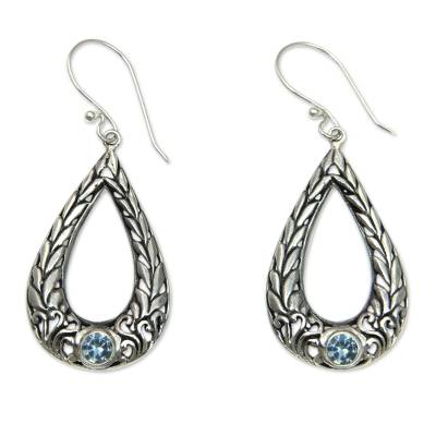 Rice Motif Sterling Silver Earrings with Blue Topaz