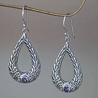 Amethyst dangle earrings, 'Earth's Harvest' - Rice Motif Dangle Earrings in Sterling Silver and Amethyst