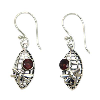 Silver Dragonfly Earrings with 1 Carat Garnet Accents