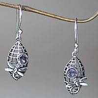 Amethyst dangle earrings, 'Kintamani Dragonfly in Lilac' - Amethyst and Silver Dangle Earrings with Dragonfly Motif