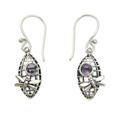 Amethyst and Silver Dangle Earrings with Dragonfly Motif