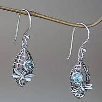 Blue topaz dangle earrings, 'Kintamani Dragonfly in Blue' - Dragonfly Theme Earrings Crafted from Sterling and Topaz