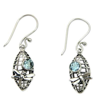 Dragonfly Theme Earrings Crafted from Sterling and Topaz