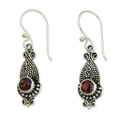 Unique Squid Shaped Sterling Silver Earrings with Garnets