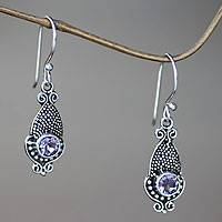 Amethyst dangle earrings, 'Purple Cephalopod' - Amethyst and Sterling Silver 925 Earrings with Squid Motif