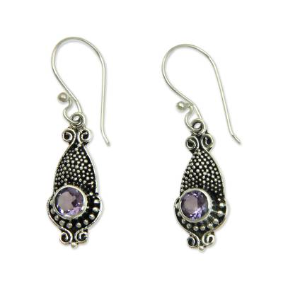 Amethyst and Sterling Silver 925 Earrings with Squid Motif