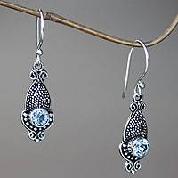 Blue topaz dangle earrings, 'Blue Cephalopod' - Oxidized Silver and Blue Topaz Squid Shaped Earrings