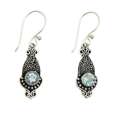 Oxidized Silver and Blue Topaz Squid Shaped Earrings