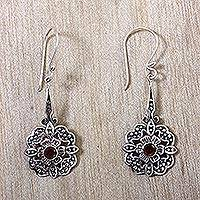 Garnet dangle earrings, 'Red Rafflesia'