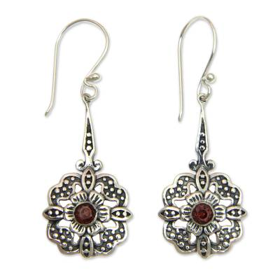 Garnet dangle earrings, 'Red Rafflesia' - Fair Trade Garnet Dangle Earrings with Floral Motif