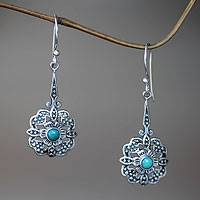 Sterling silver dangle earrings, 'Turquoise Rafflesia'