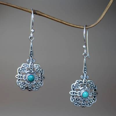Sterling silver dangle earrings, 'Turquoise Rafflesia' - Handmade Sterling Silver and Turquoise Dangle Earrings