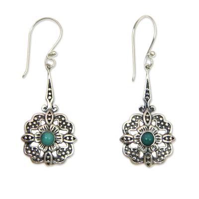 Sterling silver dangle earrings, 'Turquoise Rafflesia' - Handmade Sterling Silver and Turquoise Dangle Earrings