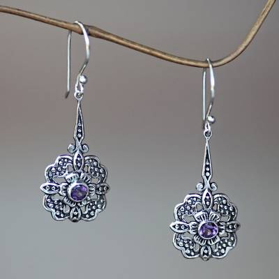 Sterling silver dangle earrings, 'Purple Rafflesia' - Amethyst-Centered Flower Earrings Handmade in Bali