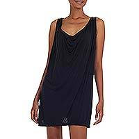 Jersey short dress, 'Kuta Ebony' - Sleeveless Little Black Dress Jersey with Plunging Neckline