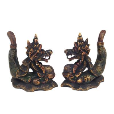 Handmade Carved Wooden Dragon Statuettes (pair)