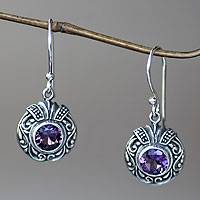 Amethyst dangle earrings, 'Lilac Ladybug' - Round Silver and Amethyst Dangle Style Earrings