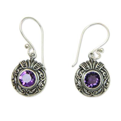 Round Silver and Amethyst Dangle Style Earrings
