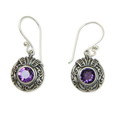 Amethyst dangle earrings, 'Lilac Ladybug' - Round Silver and Amethyst Dangle Style Earrings