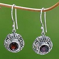 Garnet dangle earrings, 'Scarlet Ladybug'