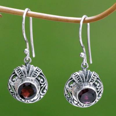 Garnet dangle earrings, 'Scarlet Ladybug' - Fair Trade Sterling Silver and Garnet Dangle Earrings