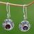 Garnet dangle earrings, 'Scarlet Ladybug' - Fair Trade Sterling Silver and Garnet Dangle Earrings thumbail