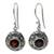 Garnet dangle earrings, 'Scarlet Ladybug' - Fair Trade Sterling Silver and Garnet Dangle Earrings (image 2a) thumbail