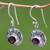 Garnet dangle earrings, 'Scarlet Ladybug' - Fair Trade Sterling Silver and Garnet Dangle Earrings (image 2b) thumbail