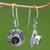 Garnet dangle earrings, 'Scarlet Ladybug' - Fair Trade Sterling Silver and Garnet Dangle Earrings (image 2c) thumbail