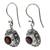 Garnet dangle earrings, 'Scarlet Ladybug' - Fair Trade Sterling Silver and Garnet Dangle Earrings (image 2e) thumbail